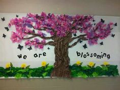 My class bulletin. I use tissue paper for this cherry blossom tree