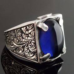 925 Sterling Silver mens ring Sapphire blue zirconia handengraved unique jewelry #KaraJewels #Handmade