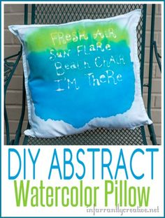 DIY Crafts | This abstract watercolor pillow is simple to make (The kids can even help!) and perfect for summer time.