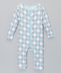 Look what I found on #zulily! Blue Argyle Playsuit - Infant by Baby Roo #zulilyfinds
