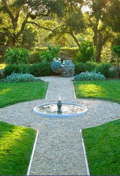 Gravel paths and fountain Grace Design's