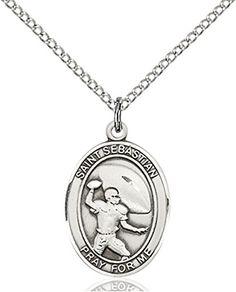 St sebastian soccer pendant sterling silver catholic st sterling silver saint sebastian football pendant medal 34 inch click on the image for aloadofball Images
