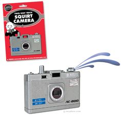 """Squirt Camera    This 3-1/4"""" x 2-1/2"""" plastic novelty looks like a modern compact digital camera, making it much easier to pull off this classic prank nowadays. Two-way squirting device allows you to turn the nozzle around so that it squirts the person taking the picture!  Price: 4.95"""