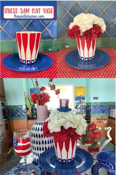 Creations, Uncle Sam's Hat Vase | The Painted Apron Patriotic Crafts, Patriotic Party, Patriotic Decorations, Farmhouse Artwork, Hydrangea Bloom, July Holidays, Red Carnation, Blue Crafts, Creative Crafts