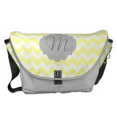 Yellow and gray chevron monogrammed messenger bag, diaper bag, book bag personalized