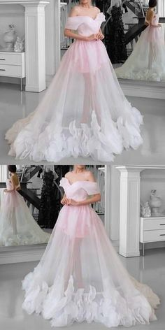 Pink Tulle wedding dressSee Through Prom Dresses Off Shoulder bridal dress floor length party gowns A Line Prom Dresses, Quinceanera Dresses, Formal Evening Dresses, Homecoming Dresses, Bridal Dresses, Dress Prom, Dress Long, Long Dresses, Evening Gowns