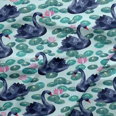 Lakeside Swans in Frosted Mint Swans, Organic Cotton, Mint, Fabric, Beautiful, Tejido, Tela, Cloths, Fabrics