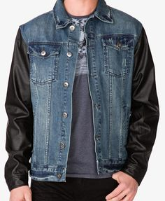 Faux Leather Sleeve Denim Jacket | Forever 21 MEN $44.90