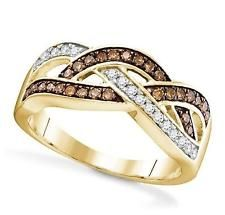 New Design! 10K Yellow Gold Chocolate Brown & White Diamond Twist Ring .35ct