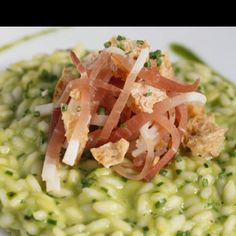 Risotto with asparagus and speck (smoked ham typical of Tyrol)