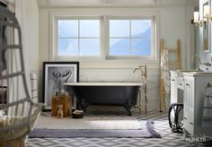 Cast iron with a biscuit interior and black exterior, this Iron Works Historic freestanding bath mirrors the colors of the floor tile. Kohler Bathroom, Loft Bathroom, Bathroom Goals, Bathroom Cleaning Hacks, Cleaning Tips, Cleaning Products, Walk In Bath, Cast Iron Bath, 1st Apartment