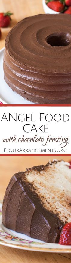 This scratch Angel Food Cake recipe yields a lighter, more delicate cake than one mixed from a box. Topped with rich chocolate frosting, this sweet, airy dessert tastes heavenly. From Flour Arrangeme (Angel Food Cake Recipes) Easy No Bake Desserts, Just Desserts, Delicious Desserts, Baking Recipes, Cake Recipes, Dessert Recipes, Cupcakes, Cupcake Cakes, Food Cakes