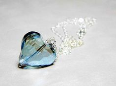 Heart of Glass Blue AB Freeform Crystal Heart Necklace by WhimsyBeading, $20.00 www.etsy.com/shop/whimsybeading