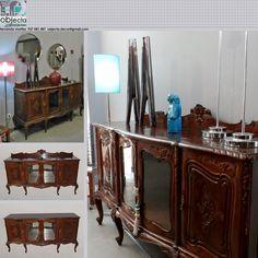 APARADOR CRISTALEIRA antigo, em madeira maciça https://www.facebook.com/objecta.segunda.mao/
