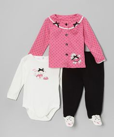 Take a look at this Pink Polka Dot Poodle Cardigan Set on zulily today!