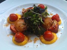 Pan Fried King Scallops with a Herb Salad, Cherry Tomatoes and a Saffron and Carrot Puree | EatNorth