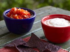 Red and White Double Dippers with Blue Corn Chips recipe from Food Network Kitchen via Food Network