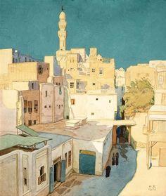 Yes, Cairo! Jardinboutanique: Ivan Bilibin - Cairo Plus Urban Landscape, Landscape Art, Landscape Paintings, Art Database, Oil Painting Reproductions, Urban Sketching, Russian Art, Painting & Drawing, Illustrators