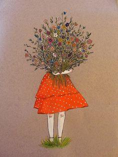 A girl holding flowers Buch Design, Illustration Art, Illustrations, Holding Flowers, Cute Drawings, Cute Wallpapers, Cute Art, Art Sketches, Art Girl