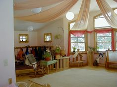 Waldorf Education    And, LOVE the fabric on the ceiling and the color of the fabric draped over the windows!    My Waldorf Kindergarten Classroom by Bella Luna Toys, via Flickr