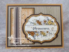 You may think of the Apothecary Art stamps as a springtime set because of the lovely floral designs, but you'll love how beautifully it works with the Woodgrain Embossing Folder for a handmade Thanksgiving card as well! www.stampingmadly.com