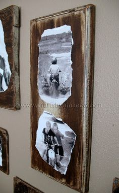 family photos on wood plaques...cool!