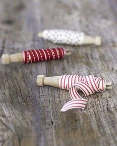 East of India wooden dolly pegs and ribbon