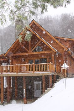 Log Home In the Winter beautiful Snowfall