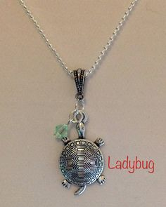 Turtle charm necklace - peridot Swarovski crystal, silver turtle charm, ball chain, great gift, nickel/lead free #design #etsymnt