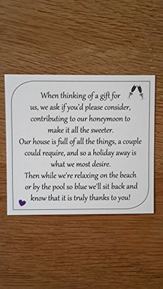 Wedding Gift Poem Poems For Money Gifts Wishes Honeymoon Shower Fund Square Invitations Stationery
