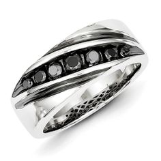 Sterling Silver Black Diamond Men's Band Ring