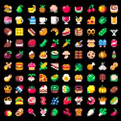 100 Food & Drink Sprites (8x8 px) with PICO-8 palette  Pixel...