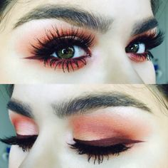 make-up orange eyeshadow red eyeshadow purple eyeliner eyeliner eyes lashes colorful warm tones warm colours pretty sparkly eyeshadow winged eyeliner mascara Makeup Goals, Love Makeup, Makeup Inspo, Makeup Inspiration, Makeup Tips, Glam Makeup, Makeup Ideas, Make Up Looks, Beauty Make-up
