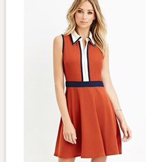 Nwt Color Block Collared Fit & Flare Dress