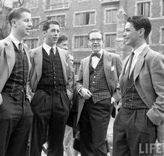 Looking fashionable in plaid waistcoats (George Silk and Yale Joel. 1950)