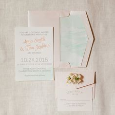 Watercolor Wedding Invitation Mint Blush Peach Gray Whimsical Spring Wedding Invite