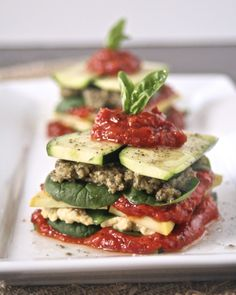 "Raw Vegan Lasagna Stack with Lemon Pignoli ""Ricotta"" and Walnut-Sage Pesto ""Sausage"""