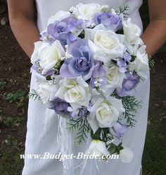 periwinkle themed bouquet with mini trail with more pale yellow without the evergreen and pine...whatever that is @Breeze Floyd Floyd