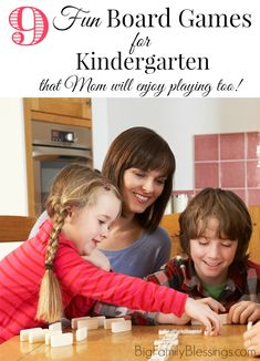 9 Fun Board Games for Kindergarten- that Mom will actually enjoy playing too! So many games for this age are mind numbing for an adult to play. These 9 board and card games are fun for the whole family!