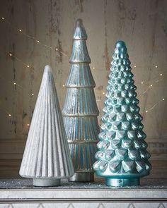 -6SMD   Mercury-Glass Blue Hobnail Tree Mercury-Glass Silver Ribbed Tree Mercury-Glass Silver-Blue Flared, Ribbed Tree