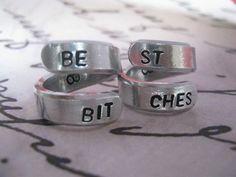 Best Friends Ring Set, Set of 2, BFF Rings, Best Bitches, Besties Jewelry, Friendship rings, Gifts for best friends, Bestie on Etsy, $14.00