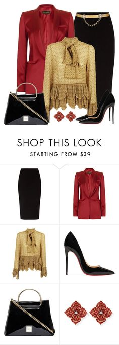 """Untitled #1593"" by gallant81 ❤ liked on Polyvore featuring The Row, ESCADA, See by Chloé, Christian Louboutin, Piranesi and Maison Mayle"