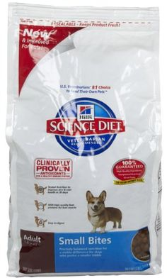 $9.74-$10.99 For small dogs and dogs who prefer a smaller kibble. The smaller size is easy to chew and provides all the essential nutrients an adult dog needs. Science Diet Adult Small Bites dog food tastes great and Hill's superior antioxidant blend helps support your dog's immune system.