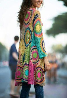Crochet Jacket Pattern Granny Square Vintage Ideas For 2019 Gilet Crochet, Crochet Coat, Crochet Jacket, Freeform Crochet, Crochet Shawl, Crochet Clothes, Knit Jacket, Crochet Granny, Hippie Crochet