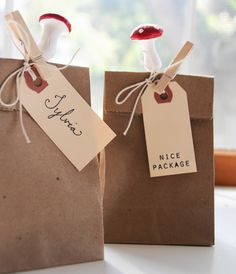 Brown paper bags and tags