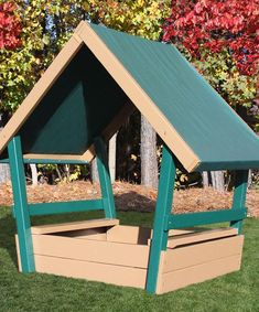 This would be fun and maybe not too hard to make!? This Green & Brown Chalet Roofed Sandbox by KidWise is perfect! #zulilyfinds
