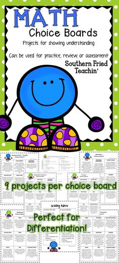 Choice Boards | Math | Differentiation | Projects & Activities | Students love to be able to make choices in their learning. So, why not let them! Choice Boards are a great tool to use in your classroom because they allow for differentiation along with choice. Students are encouraged to think critically and creatively through the use of Choice Boards.
