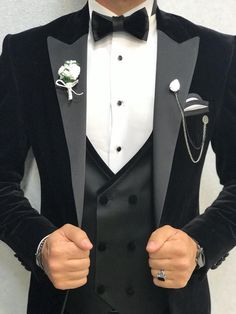 Collection: Spring – Summer 2019 Product: Slim Fit Velvet Tuxedo Color Code: Black Size: Suit Material: satin fabric, Machine Washable: No Fitting: Slim-fit Package Include: Jacket, Vest, Pants Only Gifts: Shirt, Chain and Bow Tie Dry Clean Only Tuxedo Dress, Groom Dress, Black Tuxedo Wedding, Groom Tuxedo Wedding, Bride Groom, All Black Tuxedo, Groom Attire Black, Tuxedo Colors, Wedding Suits