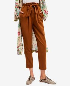Free People Cotton Tie-Waist Tapered Soft Pants