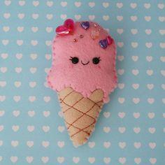 Love Ice Cream Felt Brooch by hannahdoodle on Etsy, $15.00